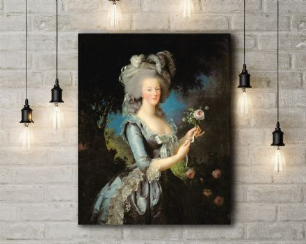 Vigee Le Brun: Marie Antoinette with a Rose. Fine Art Canvas.